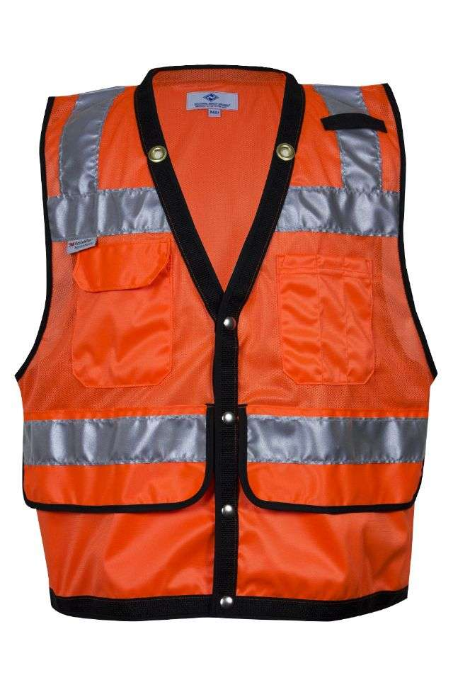 VIZABLE® VNT8015-4X VNT8015 Series Survey and Construction Mesh Safety Vest, 4X-Large, High Visibility Fluorescent Orange, 3 oz Breathable Polyester Micro Mesh, Snap Front Closure