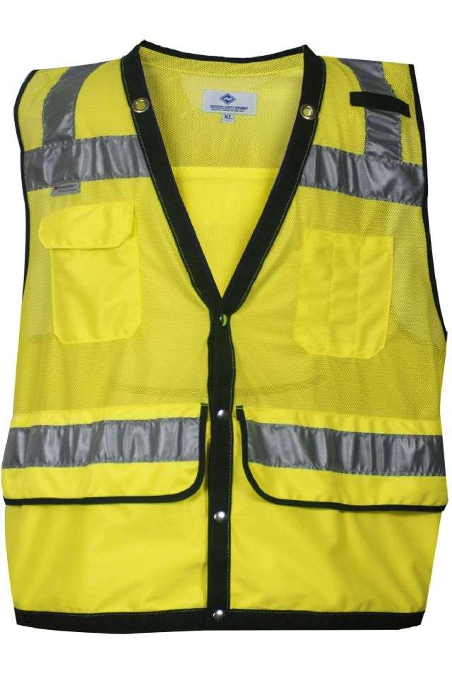 VIZABLE® VNT8016-3X VNT8016 Series Survey and Construction Mesh Safety Vest, 3X-Large, High Visibility Fluorescent Yellow, 3 oz Breathable Polyester Micro Mesh, Snap Front Closure