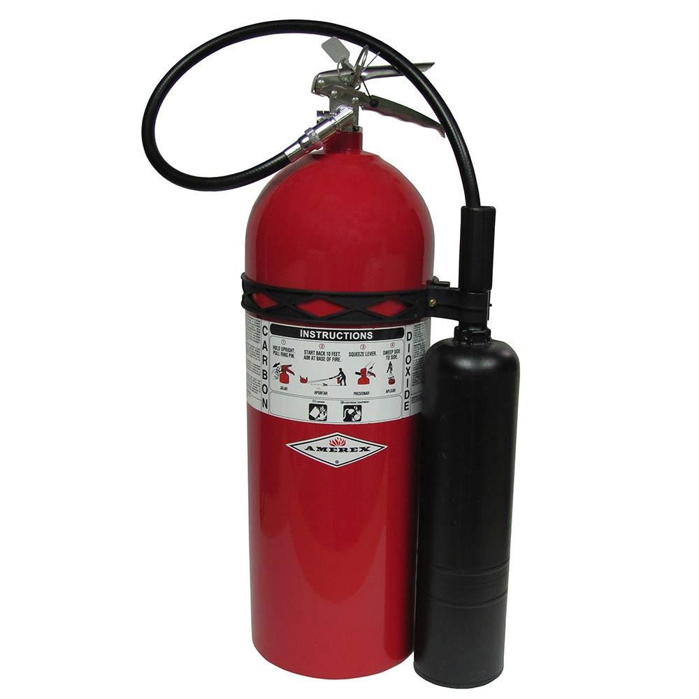Amerex 331 Fire Extinguisher, Carbon Dioxide, 15 lbs, 10B:C, Aluminum Cylinder