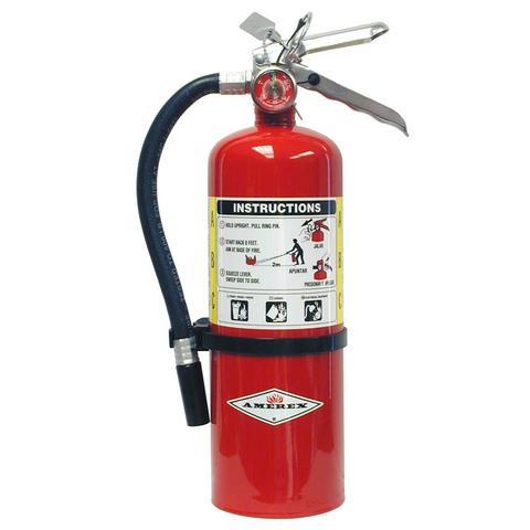 Amerex 22435B Stored Pressure Multi-Purpose Fire Extinguisher, 5 lbs Capacity, A, B, C Class, 3A:40B:C UL Rating, Aluminum Handle