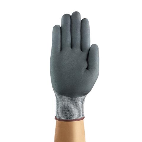 HyFlex® 11-423-6 11-423 Series Cut-Resistant Gloves, Medium Duty, Size 6, Nitrile/Polyurethane, Gray/Yellow, Textured Grip