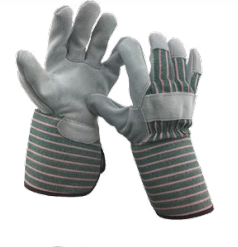 Diamond M DM-GL20212 Leather Work Gloves, Large, Double Layer Shoulder Split Cowhide Split Leather Palm, Black/Gray, Knuckle Strap