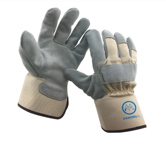 Diamond M DM-GL20310 Leather Work Gloves, Standard, Large, Select Shoulder Leather Palm, Gray/High Visibility Lime, Reflective Knuckle Strap