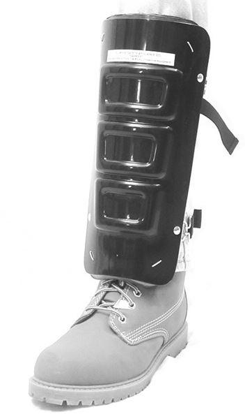 Ellwood Safety 303 Padded Shin Guard With Sponge Rubber, 12 in Length, Men's, Aluminum Alloy, Silver