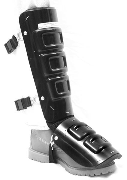 Ellwood Safety 323 Padded Shin-Instep Guard With Sponge Rubber, 12 in Length, Men's, Aluminum Alloy, Silver