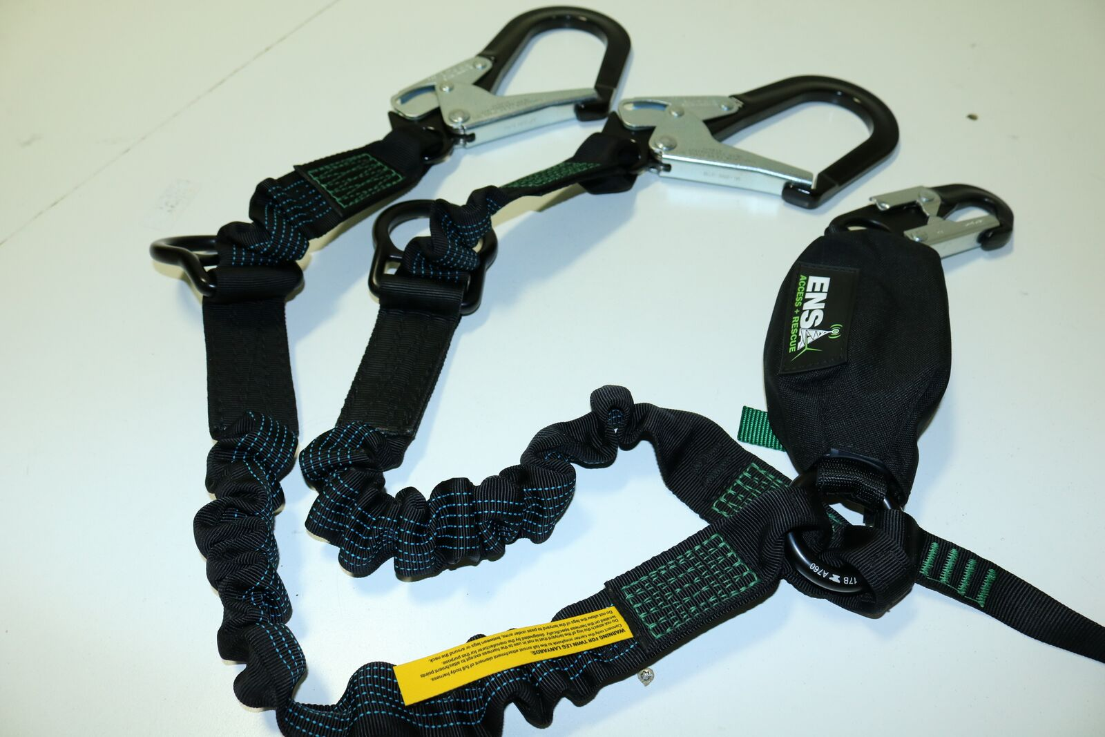 ENSA ENSA-APEVINE-874S APE Vine PEA Fall Arrest Lanyard, Light Weight , Dyneema Core Fiber Line, Steel Form Hook, Black