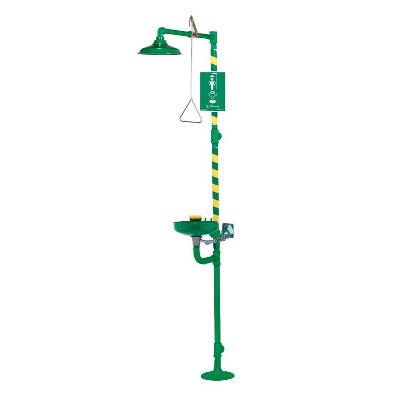 Haws® AXION® MSR 8317CTFP.220V Combination Emergency Shower and Eyewash Unit, ABS Plastic Shower Head, Floor Mounting, Push Handle Operation, Specifications Met: ANSI Z358.1-2014, cCSAus Certified