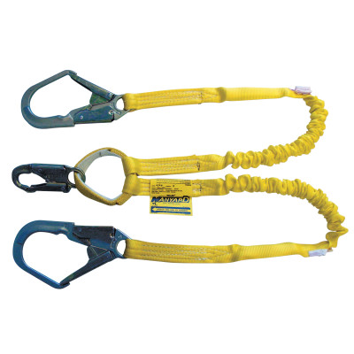 Miller® by Honeywell Manyard™ 231WO/4FTYL Shock Absorbing Lanyard, 310 lb Load Capacity, 4 ft L, Polyester Webbing Line, 2 Legs, Rebar Hook Anchorage Connection, Snap Hook Harness Connection Hook