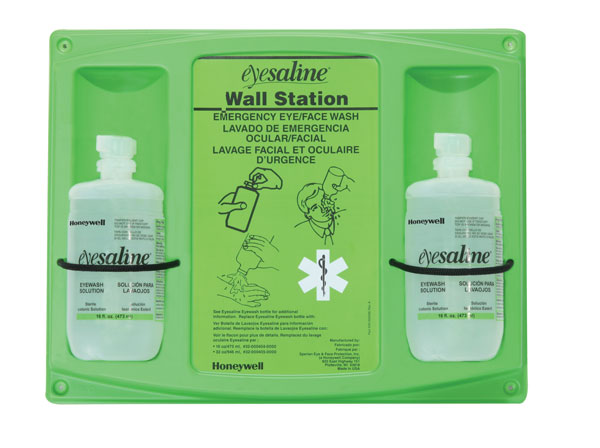 Honeywell Eyesaline™ 32-000462-0000-H5 Double Bottle Eyewash Station, Wall Mounting, Specifications Met: ANSI Z358.1