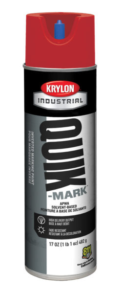 Krylon® Quik-Mark™ A03611 Water Base Inverted Marking Paint, 20 oz Container, Liquid Form, Red, 332 ft Coverage