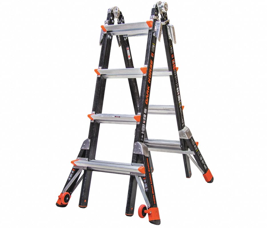 Little Giant® 15144-186 Conquest Articulating Ladder, Multipurpose, 15 ft, 300 lbs, IA ANSI, Fiberglass