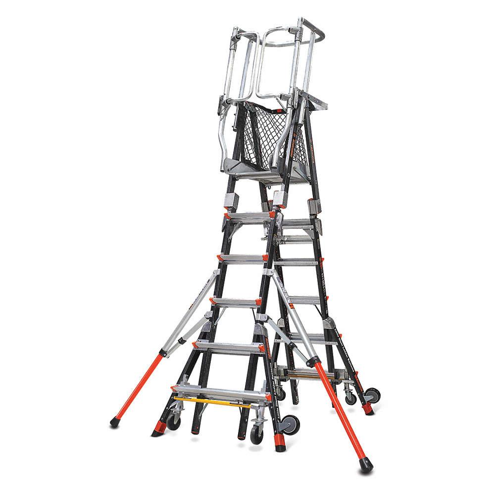 Little Giant® 19606 Adjustable Safety Cage Platform 5-Step Ladder, 9.5 ft, 375 lbs, IAA ANSI, Fiberglass