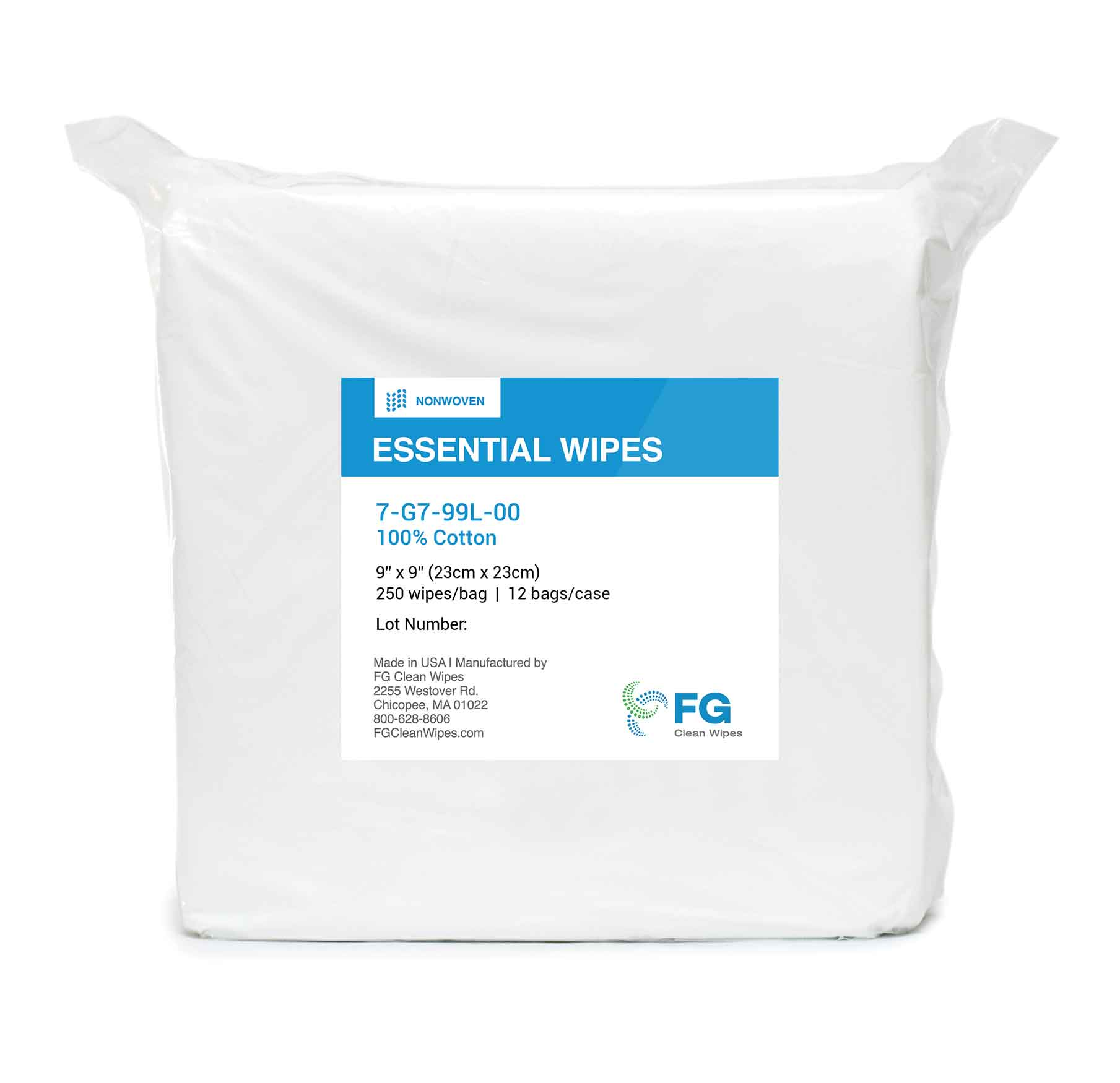 FG Clean Wipes 73400SE99PS00 3400SE Series Clean Room Wipe, Heavyweight, Sealed Edge, 9 in WD X 9 in LG X 17 mil THK, 150 Wipes, Knit Polyester