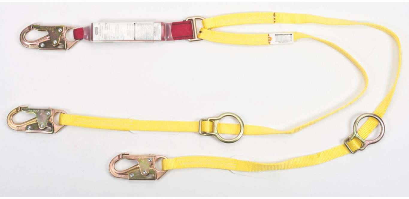Sure-Stop® 10088265 Adjustable Shock Absorbing Web Lanyard, 310 lb Load Capacity, 6 ft L, Nylon Line, 2 Legs, 36C Snap Hook Anchorage Connection, 36C Snap Hook Harness Connection Hook