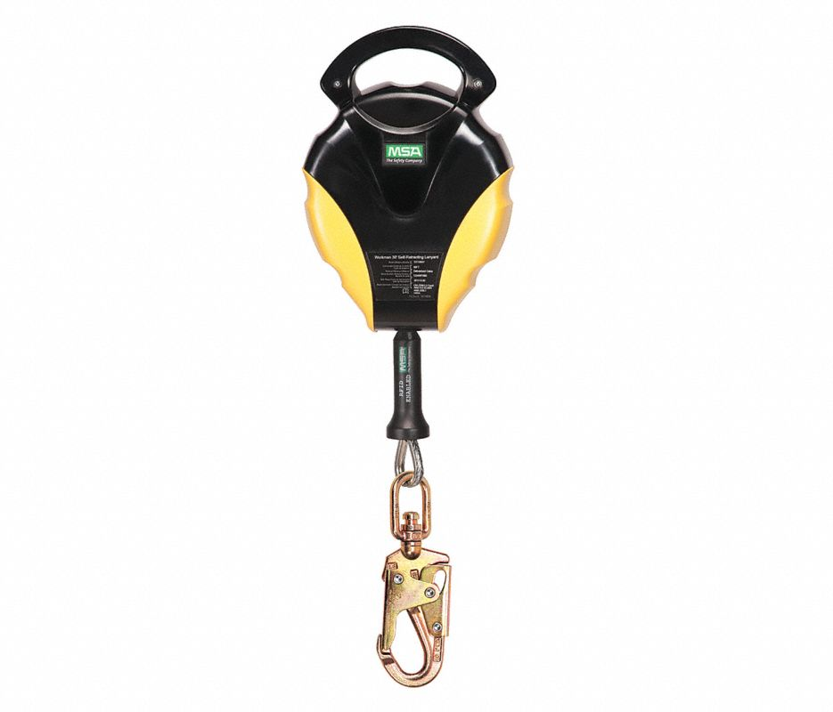 Workman® 10119507 Self-Retracting Lanyard, 400 lb Load Capacity, 30 ft L, Galvanized Steel Line, 1 Legs, Snap Hook Anchorage Connection, 36CS Swivel Snap Hook Harness Connection Hook, Specifications Met: ANSI Z359.14-2012, CSA Z259.2.2, OSHA Approved