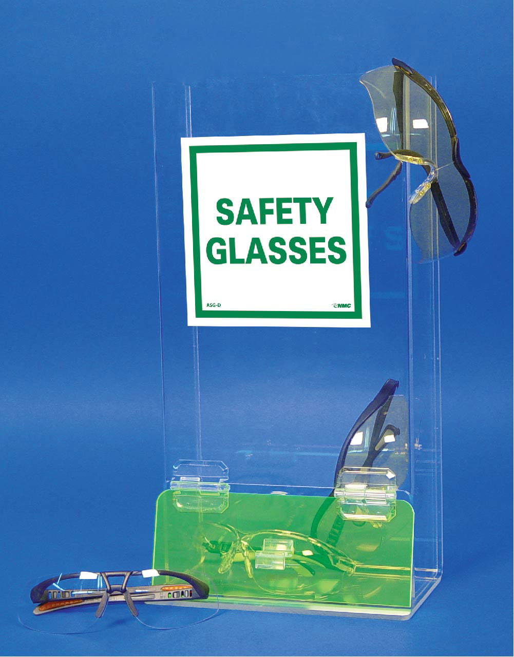 NMC™ ASG-3 Safety Glasses Dispenser, Double Compartment, 15.75 in WD X 16 in HT, Table/Wall Mounting, Acrylic