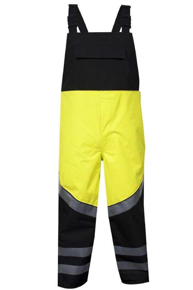HYDROlite™ HYDROBIBYB-4X HYDROBIBYB Series Flame Resistant Rain Bib Overall, Breathable Hybrid Storm Waterproof, 4X-Large, Black/High Visibility Yellow, GORE-TEX® PYRAD® Fabric, Zipper Leg/Snap Fly Closure