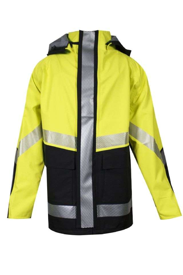 HYDROlite™ HYDROJACKYB-4X HYDROJACK-YB Series Flame Resistant Storm Jacket, Waterproof, 4X-Large, Black/High Visibility Yellow, GORE-TEX¿¿ with GORE¿¿ PYRAD¿¿ Fabric, Arc and Flame Resist