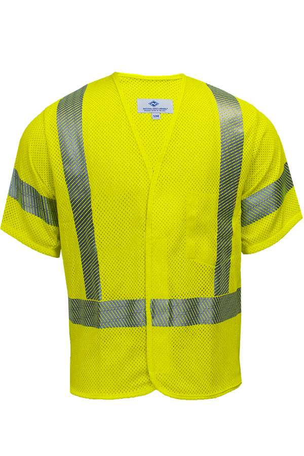 VIZABLE® FR V00HASM3Z V00HA3Z Series Flame Resistant Mesh Safety Vest, Small, High Visibility Fluorescent Yellow, 5.8 oz Modacrylic and Para-Aramid Mesh, Front Zipper Closure