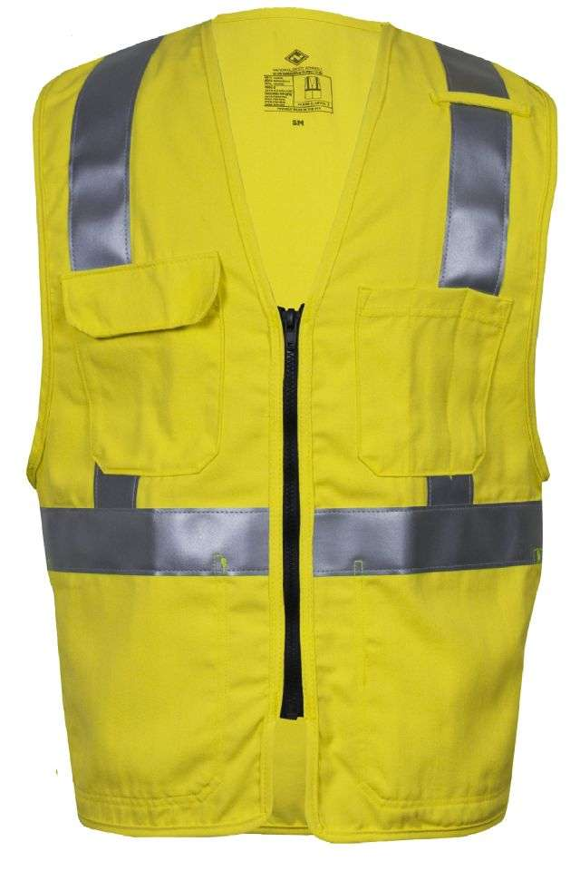 VIZABLE® FR V00HAXL3Z V00HA3Z Series Flame Resistant Mesh Safety Vest, X-Large, High Visibility Fluorescent Yellow, 5.8 oz Modacrylic and Para-Aramid Mesh, Front Zipper Closure