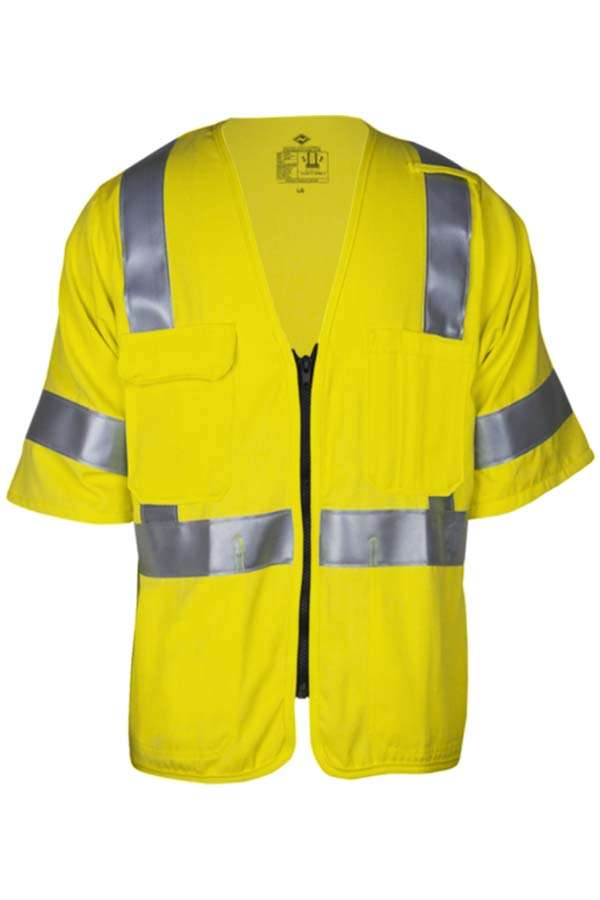 VIZABLE® FR V21TV3Z-3X V21TV3Z Series Flame Resistant Deluxe Road Safety Vest, 3X-Large, High Visibility Fluorescent Yellow, 6.5 oz Breathable Modacrylic Blend Solid, Front Zipper Closure