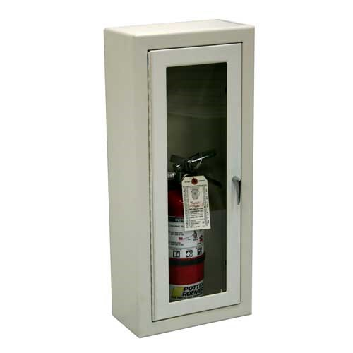 Potter Roemer® 7012DV Alta 7000 Semi-Recessed Fire Extinguisher Cabinet, 5 lbs Capacity, 24 in HT X 9 in WD X 5 in DP, 22 ga Cold Rolled Steel Cabinet, White Cabinet