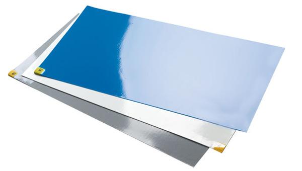 "Purus PM243664B Biohybridâ""¢ PM243664 Series Cleanroom Tacky Mat, Regular Tack, Blue, 24 in WD X 36 in LG X 1.4 mil THK, LDPE Blend, 60 Sheets"