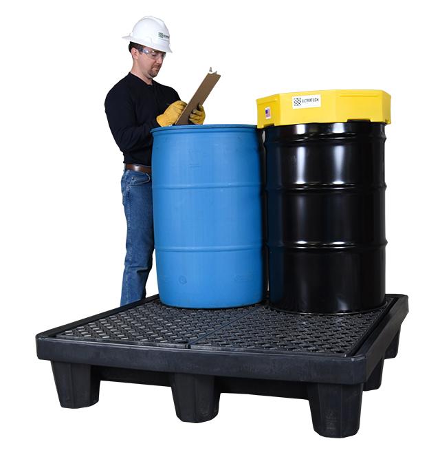 UltraTech 1089 Ultra-Spill Deck Ramp, 5-3/4 in H X 24 in L X 32 in W, LLDPE, Yellow