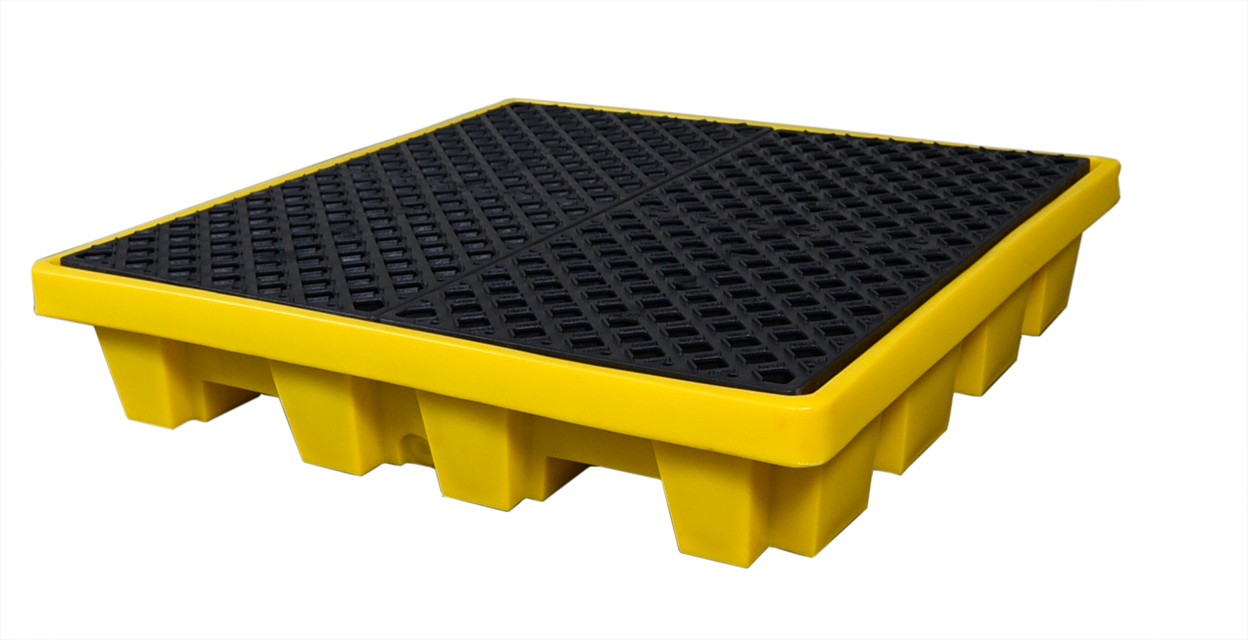 UltraTech 1113 Ultra-Spill Pallet P4, Economy Model With Drain, 11-3/4 in H X 53 in L X 53 in W, LLDPE, Black