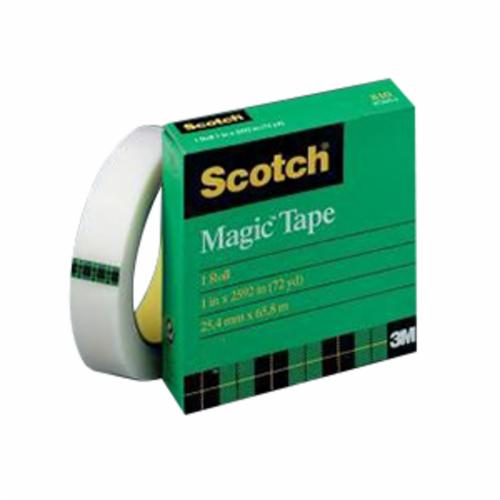 Scotch® 021200-06943 High Performance Light Duty Packaging Tape, 72 yd L x 3/4 in W, 2.3 mil THK, Acrylic Adhesive, Unplasticized PVC Backing, Clear