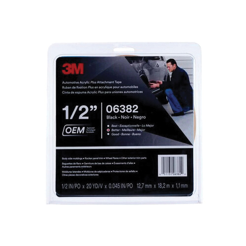 3M™ Scotch-Mount™ 051131-03609 Molding Non-Reflective Super Strength Automotive Tape, 5 ft L x 1/2 in W, 0.045 in THK, Acrylic Adhesive, Black