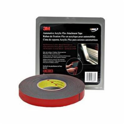3M™ 051131-06382 Double Coated Non-Reflective Automotive Tape, 20 yd L x 1/2 in W, 45 mil THK, Acrylic Foam Backing, Black