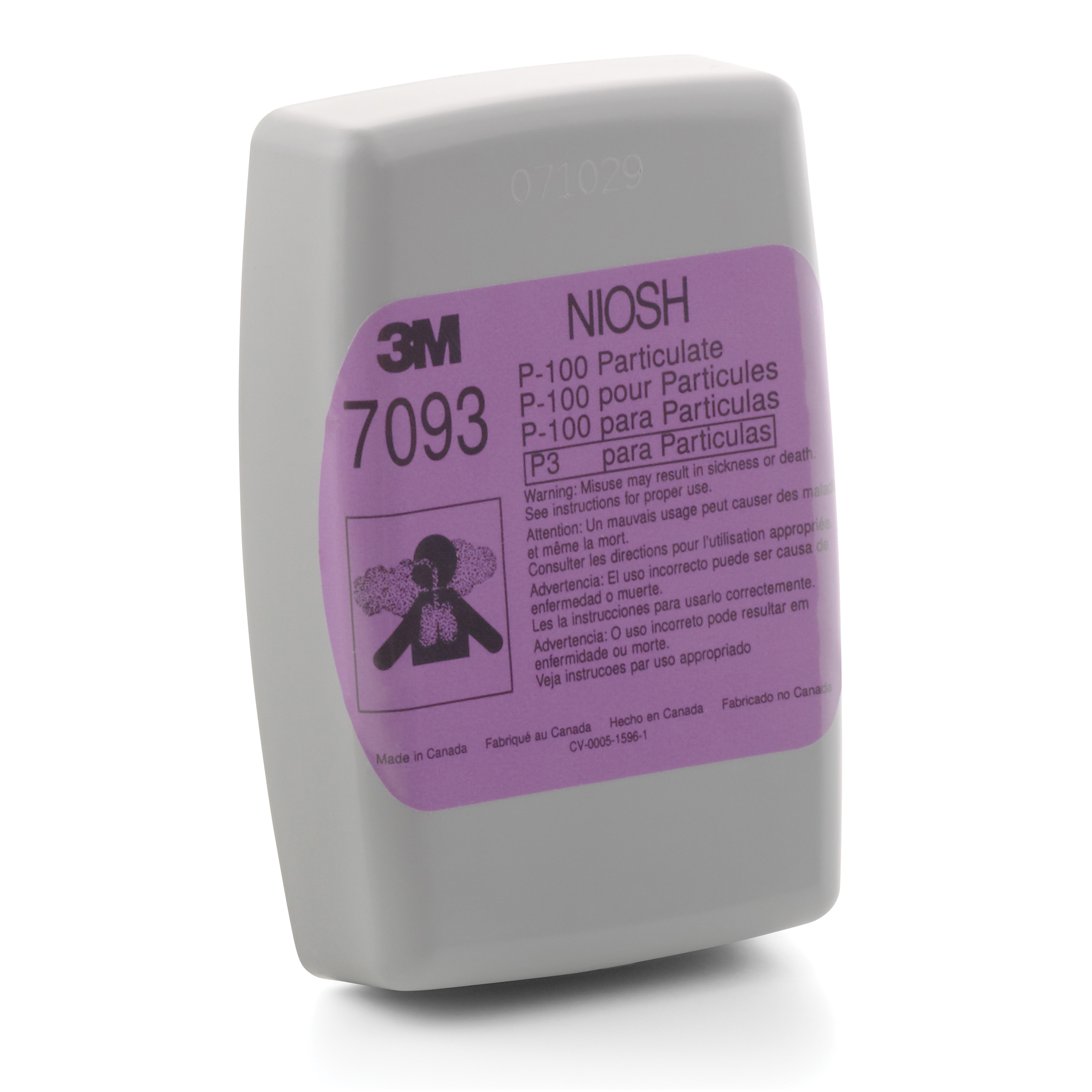 3M™ 051131-37173 7093C Reusable Combinational Respiratory Cartridge With Nuisance Level Organic Vapor and Acid Gas Relief, For Use With 3M™ 6000, 7000, FF-400 Series Half and Full Facepiece Respirators with Bayonet Filter Holder, P100 Filter Class