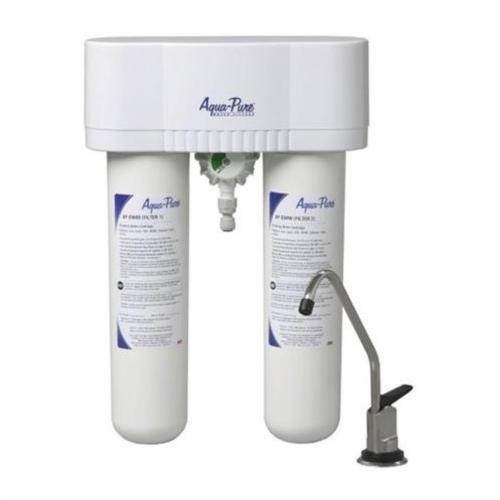 3M™ Aqua-Pure™ 016145-10001 Under Sink Water Filtration System, 0.6 gpm, 3.188 in Dia x 15-3/4 in H, Plastic, 40 to 100 deg F, Domestic