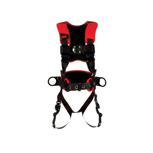 3M Protecta Fall Protection 1091014 Pro™ Waist Belt With (2) Zinc Plated Steel Side D-Rings and 6 in EVA Foam Filled Nylon Hip Pad, Tongue Buckle, Polyester Webbing, Stainless Steel Grommet Buckle/Plastic Snap/Ring Hardware