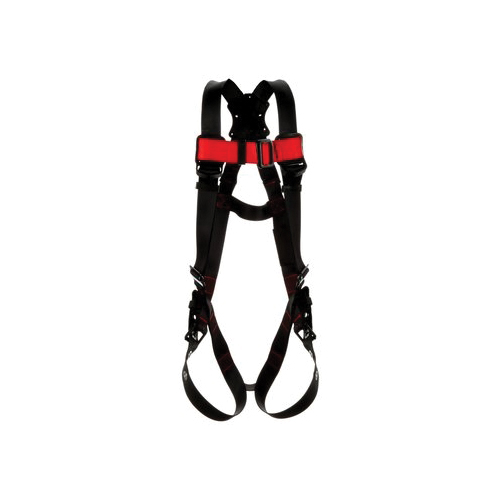 3M Protecta Fall Protection 1161418 Harness, M to L, 420 lb Load, Polyester Strap, Tongue Leg Strap Buckle, Pass-Thru Chest Strap Buckle, Steel Hardware, Black