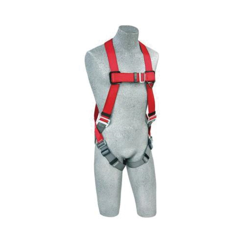 3M Protecta Fall Protection 1191201 Pro™ Harness, M to L, 420 lb Load, Polyester Webbing Strap, Pass-Thru Leg Strap Buckle, Steel Hardware, Red