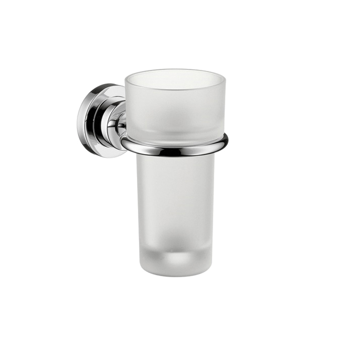 AXOR 41734000 Tumbler and Holder, Citterio, 5-3/8 in H, Crystal Glass/Solid Brass, Polished Chrome, Import