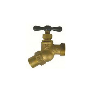 A.Y. McDonald 5424-039 72006S No-Kink Hose Bibb, 1/2 and 3/4 in Nominal, C x Male Garden Hose Thread End Style, Brass Body, T-Handle Actuator
