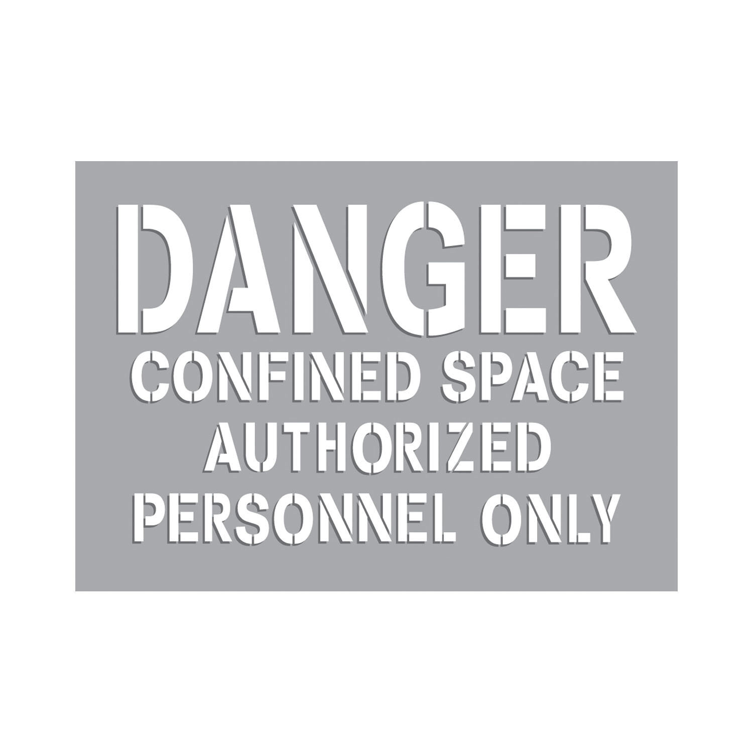 Accuform® CST710 Confined Space Stencil, DANGER CONFINED SPACE, 2 in H Header/1 in H Letters H, Mylar®