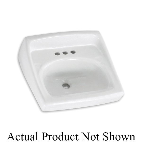 American Standard 0355.012.020 Lucerne™ Bathroom Sink With Front Overflow, D-Shape, 4 in Faucet Hole Spacing, 20-1/2 in W x 18-1/4 in D, Wall Mount, Vitreous China, White, Domestic
