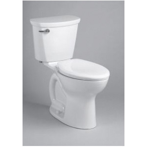 American Standard 215AA105.020 Right Height® Cadet® Pro™ 2-Piece Toilet, Elongated Bowl, 16-1/2 in H Rim, 12 in Rough-In, 1.28 gpf Flush Rate, White, Import