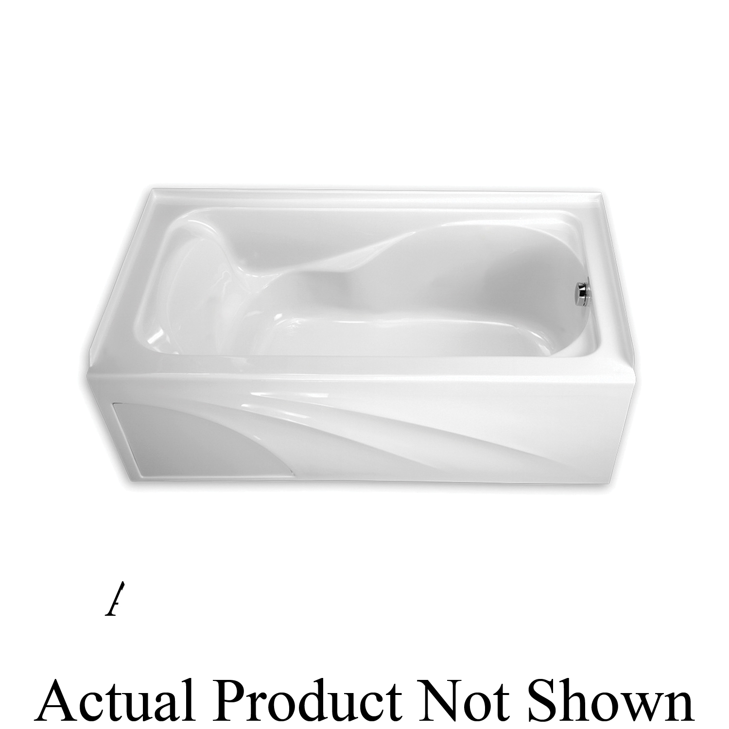 American Standard 2776.102.020 Bathtub With Integral Apron, Cadet®, Soaking, Rectangular Shape, 59-7/8 in L x 32 in W, Right Drain, White, Domestic