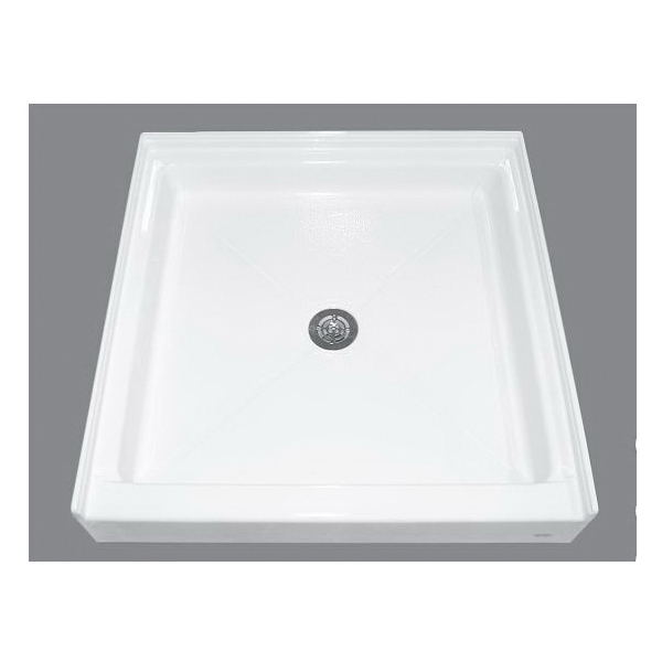 American Standard PROSITE 3636ST.020 Alcove Shower Base, White, Center Drain, 36 in W x 36-3/16 in D, Import