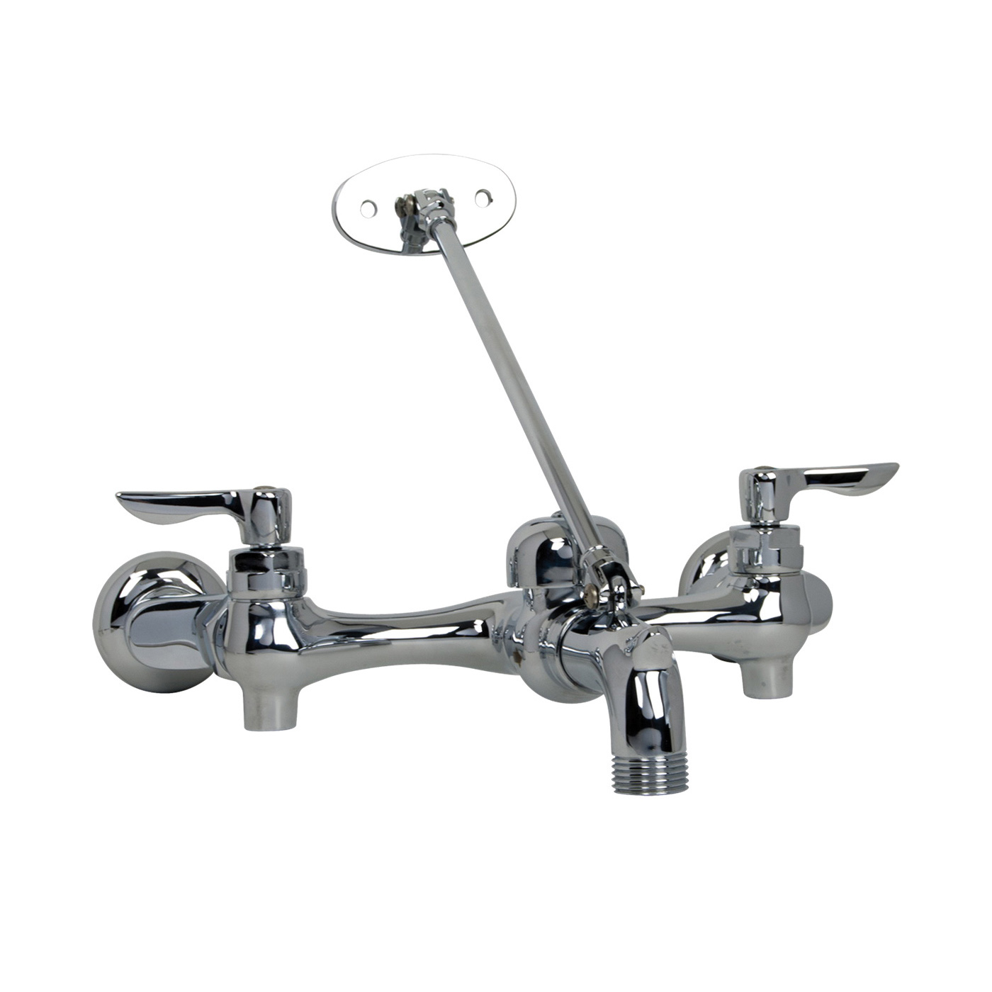 American Standard 8354.112.002 Exposed Yoke Utility Faucet With Offset Shanks, Wall Mount, 2 Handles, 6 to 10 in Center, 2.2 gpm Flow Rate, Polished Chrome
