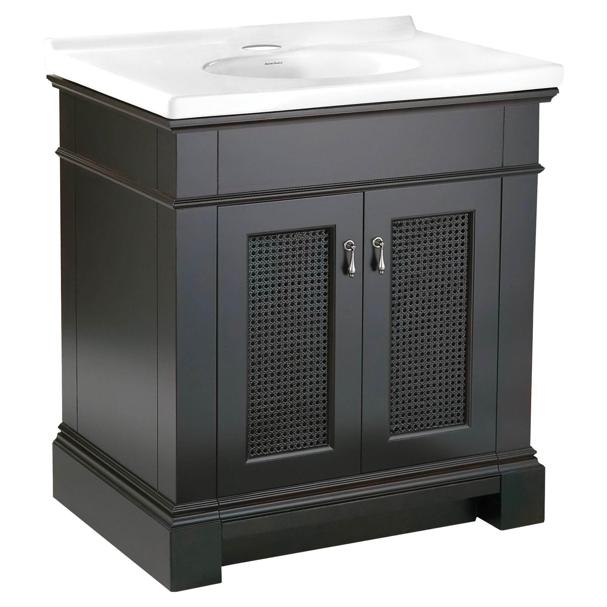 American Standard 9210030.322 Portsmouth® Transitional Vanity, 33-1/4 in OAH x 21-1/2 in OAW x 30 in OAD, Wall Mount, Dark Chocolate Cabinet, Import