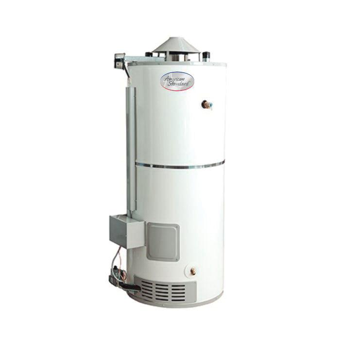 American Standard® RU-75-76-AS-6 Gas Water Heater, 76000 Btu/hr Heating, 75 gal Tank, Natural Gas Fuel, 74 gph Recovery