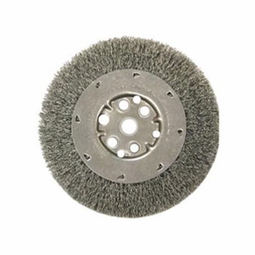 Anderson Products 01416 DA Series Medium Face Wheel Brush, 10 in Dia Brush, 1-1/8 in W Face, 0.014 in Dia Crimped Filament/Wire, 2 in Arbor Hole