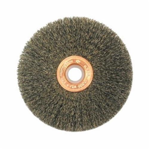Anderson Products 03314 DM Series Narrow Face Wheel Brush, 8 in Dia Brush, 1/2 in W Face, 0.014 in Dia Crimped Filament/Wire, 5/8 in Arbor Hole