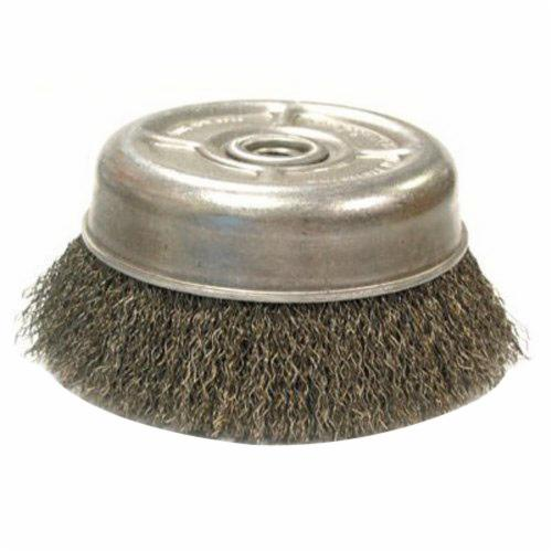 Anderson Products 08753 SS Series Small Diameter Wheel Brush, 2 in Dia Brush, 3/8 in W Face, 0.014 in Dia Crimped Filament/Wire, 1/2 to 3/8 in Arbor Hole